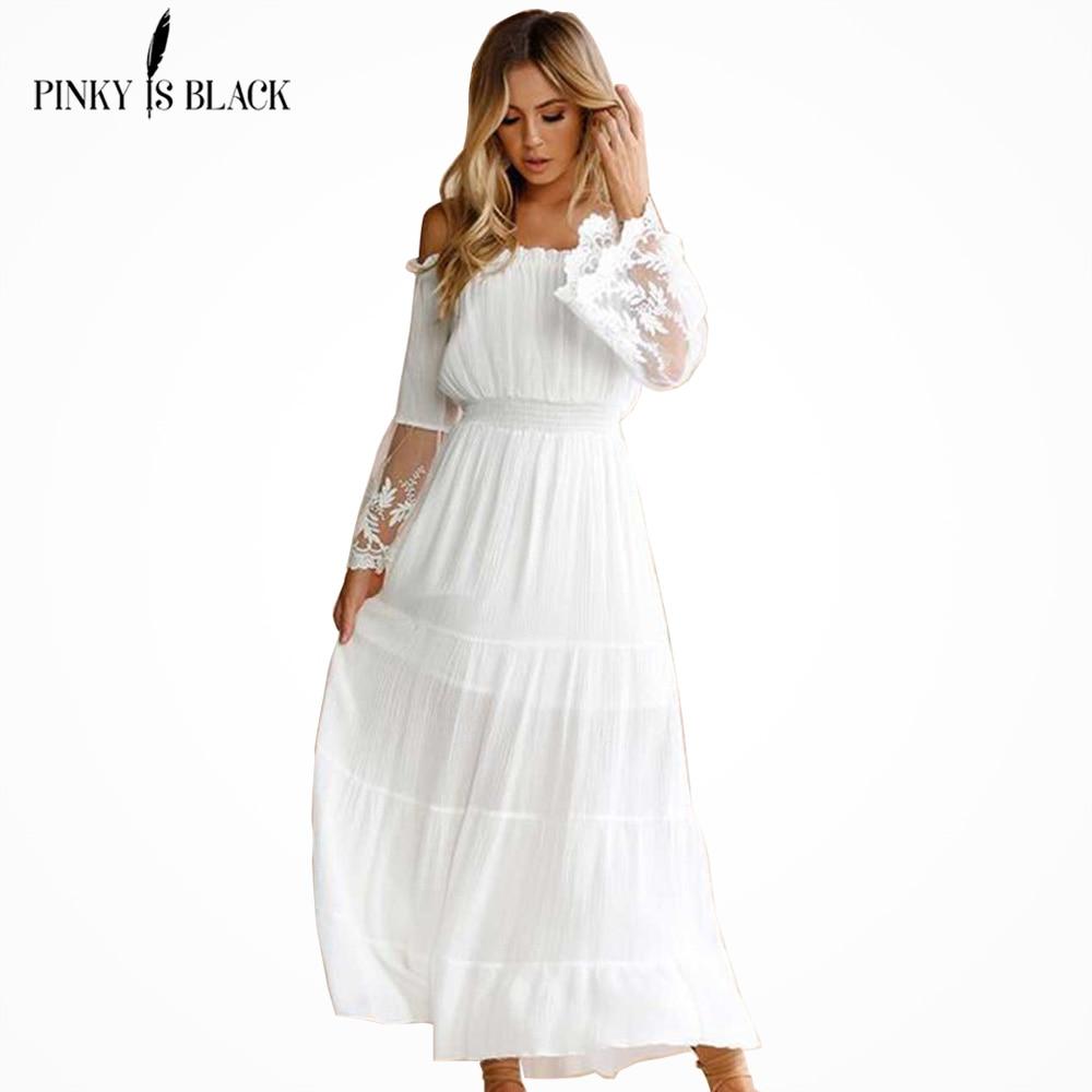 PinkyIsBlack Summer Dress 2019 Sexy Women Boho Style Off shoulder Maxi Dress Flare Sleeve White Lace Spliced Dress Vestidos