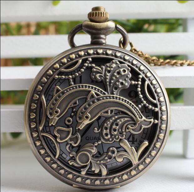 Винтажные Классические кварцевые часы dolphins, карманные часы с цепочкой в подарок для мужчин и женщин
