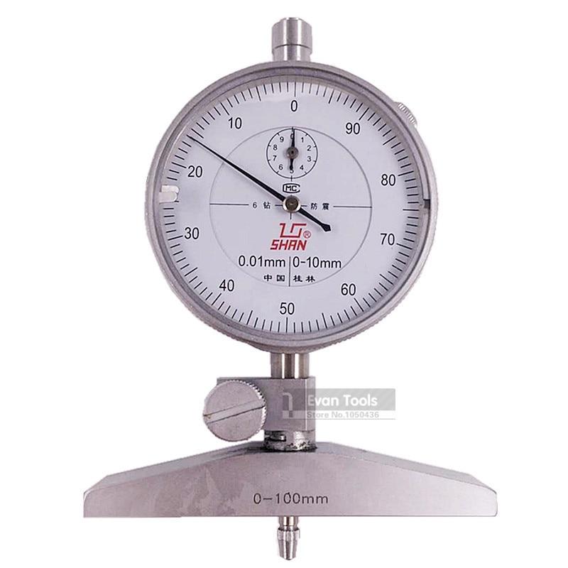 SHAN 0-100mm/0.01mm Dial Test Indicator Depth Dial Gauge Shock-Proof Reloj Comparador Thickness Meter Measure Tools