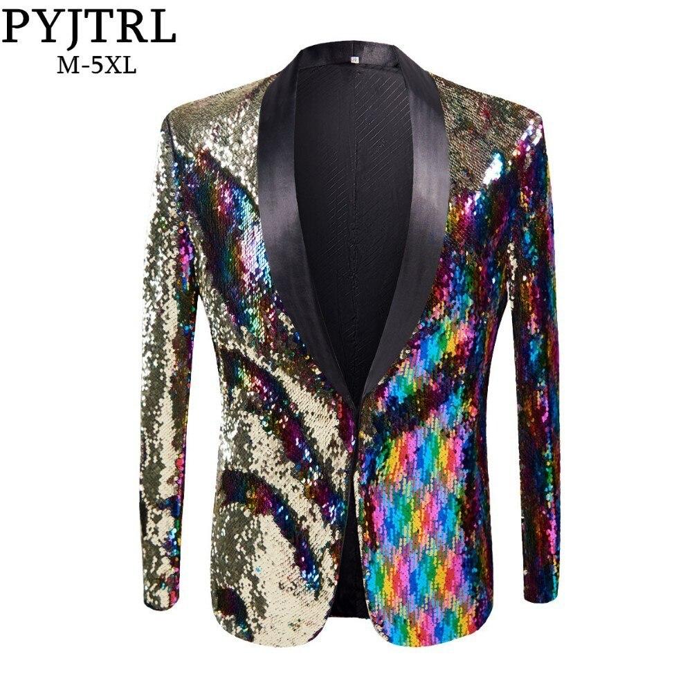 PYJTRL 新メンズスタイリッシュゴールド色付けダブルカラースパンコールブレザーナイトクラブバーステージ歌手の衣装ウェディング新郎のスーツジャケット