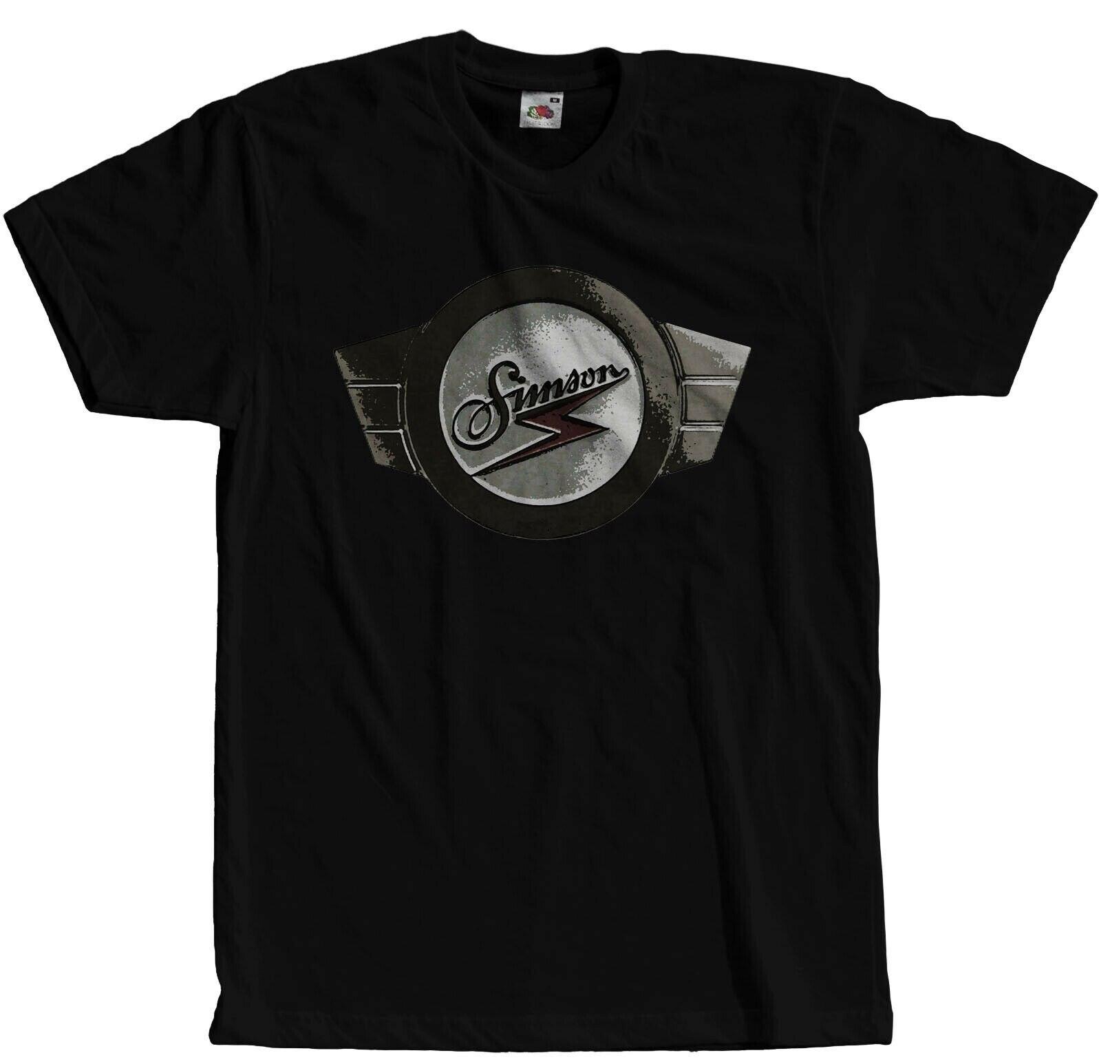 Simson schwalbe ifa ddr ostkult s50 s51 ciclomotor logotipo 2019 verão estilo de alta qualidade topos camisa para o homem o pescoço t