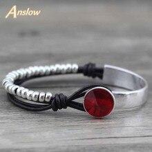 Anslow nouveau Design bijoux de mode en cuir véritable enveloppement Vintage rétro perles Bracelet Bracelet breloque pas cher LOW0473LB