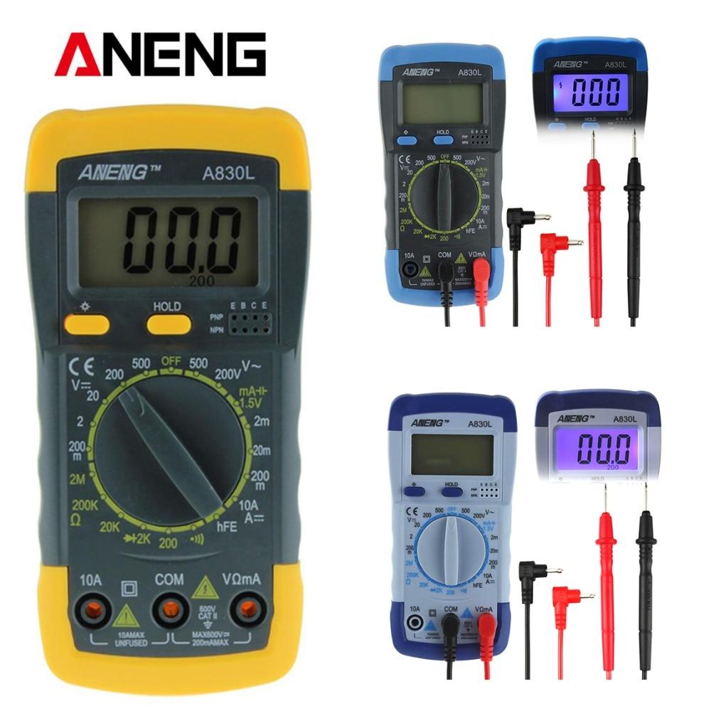 A830l lcd multímetro digital dc ac tensão freguency multímetro capacitância ohm transisto corrente eletronics tester multi medidor