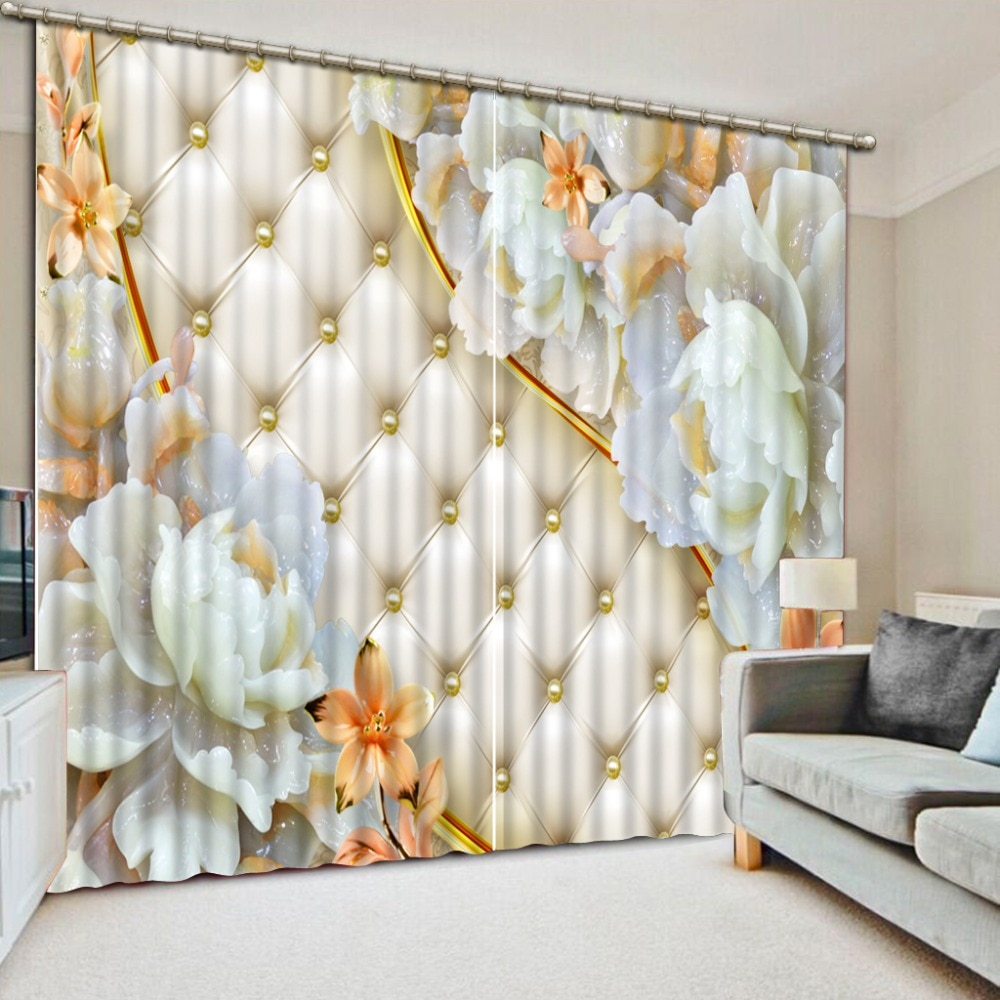 Soft bag jade carving flower 3D Curtain European style Stereoscopic Curtains livingroom japanese style curtains