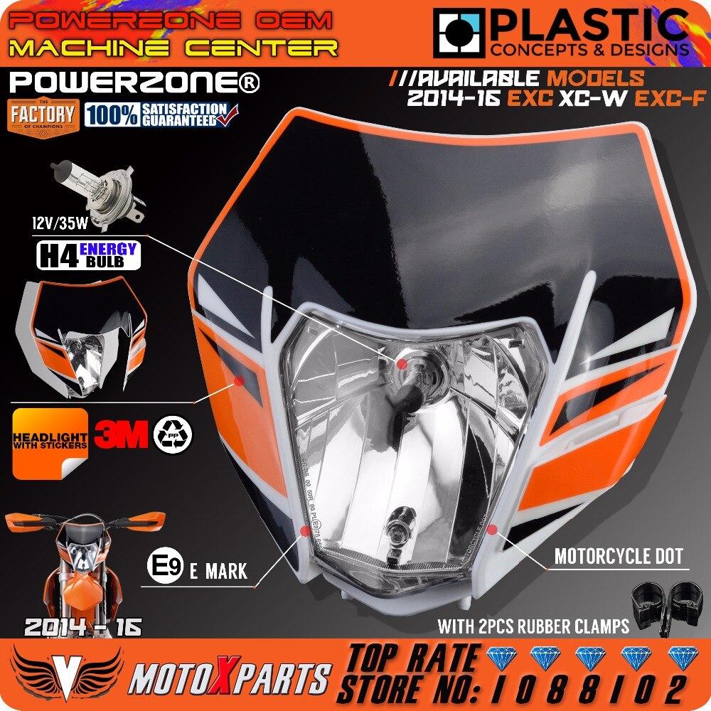 Powerzone Headlight Headlamp With Sticker For KTM SX F EXC XCF SMR 2016 14 15 Motorcycle Dirt Bike MX Enduro Supermoto