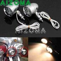 Motorcycle Mini Bullet Style Headlight Chrome Spotlight Unversal for Yamaha Honda Suzuki Aluminum Auxiliary Fog Head Lights