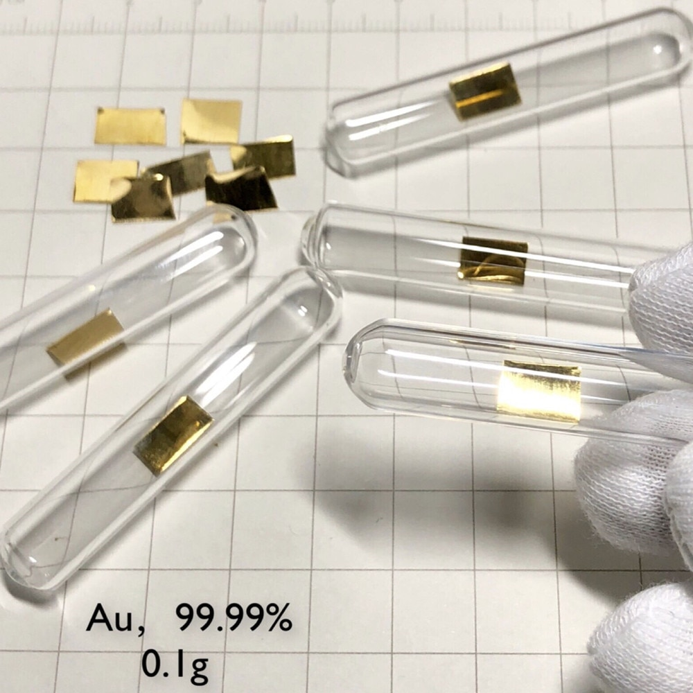 Metal Gold Element Sealed Density Au Sheet High Purity 99.99% for Element Collection Hobbies Lab Crafts Display Glass Sealed