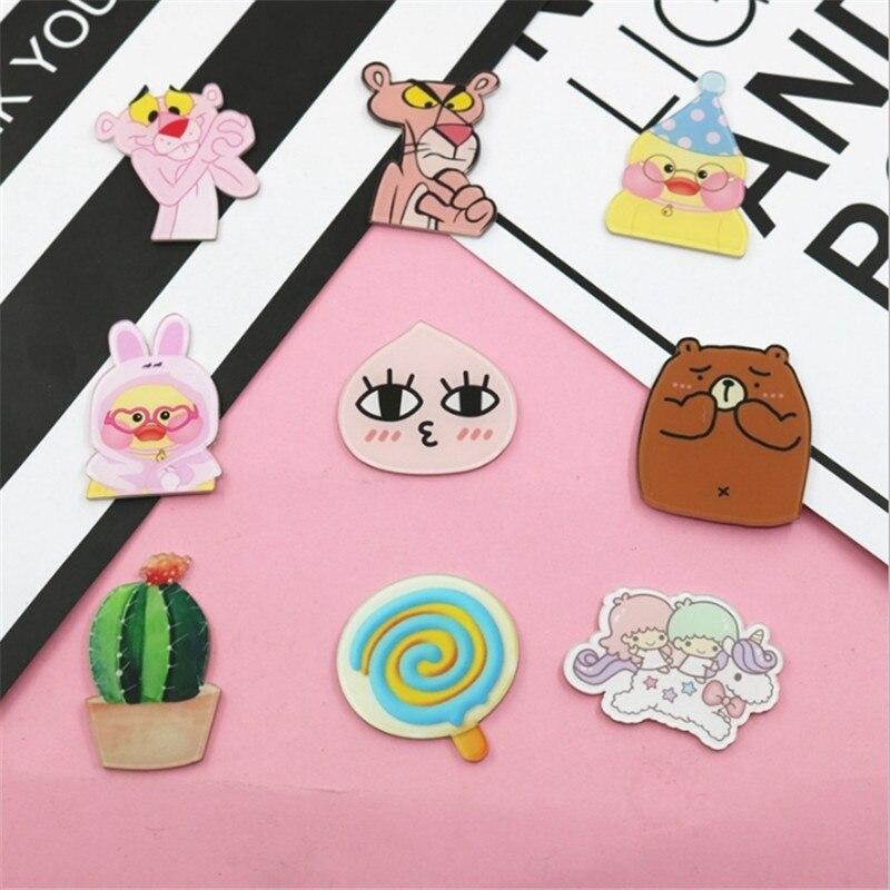 1 Uds cactus de dibujos animados Pantera pato acrílico broche insignias decoración Pin en la mochila mujeres DIY broches de ropa Pins