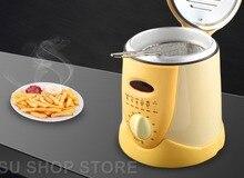 Sans fumée multifonctionnel poêle 0.9L Mini friteuse électrique à huile four frites Poulet Poisson Frit Pot machine