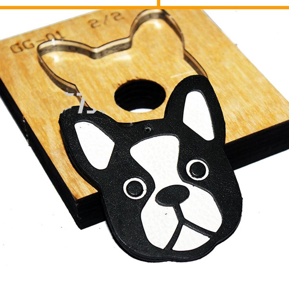 DIY cuero craft bull perro cabeza diseño troquelado cuchillo molde colgante decoración plantilla mano punch herramienta set