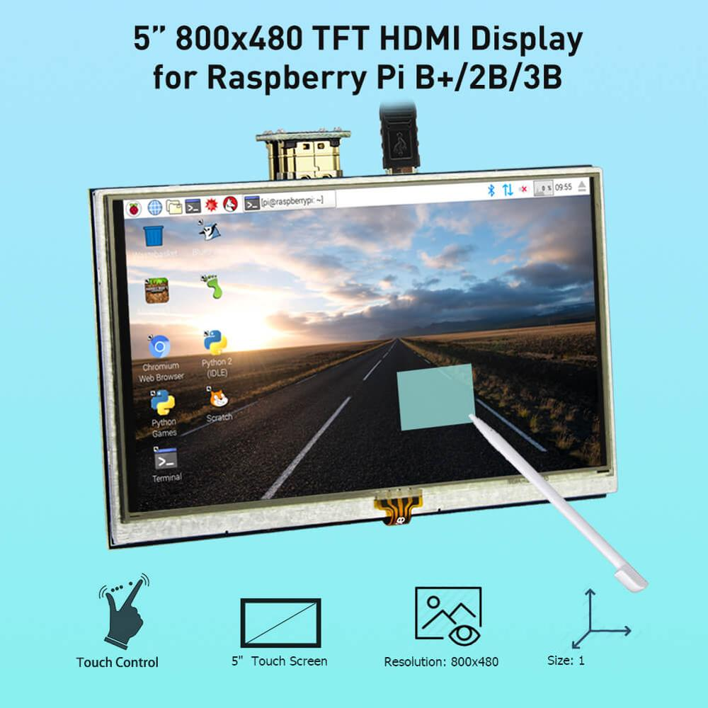 Elecrow LCD 5 Inch Raspberry Pi 3 Display Touch Screen HD 800x480 Monitor TFT with Pen for Banana 2