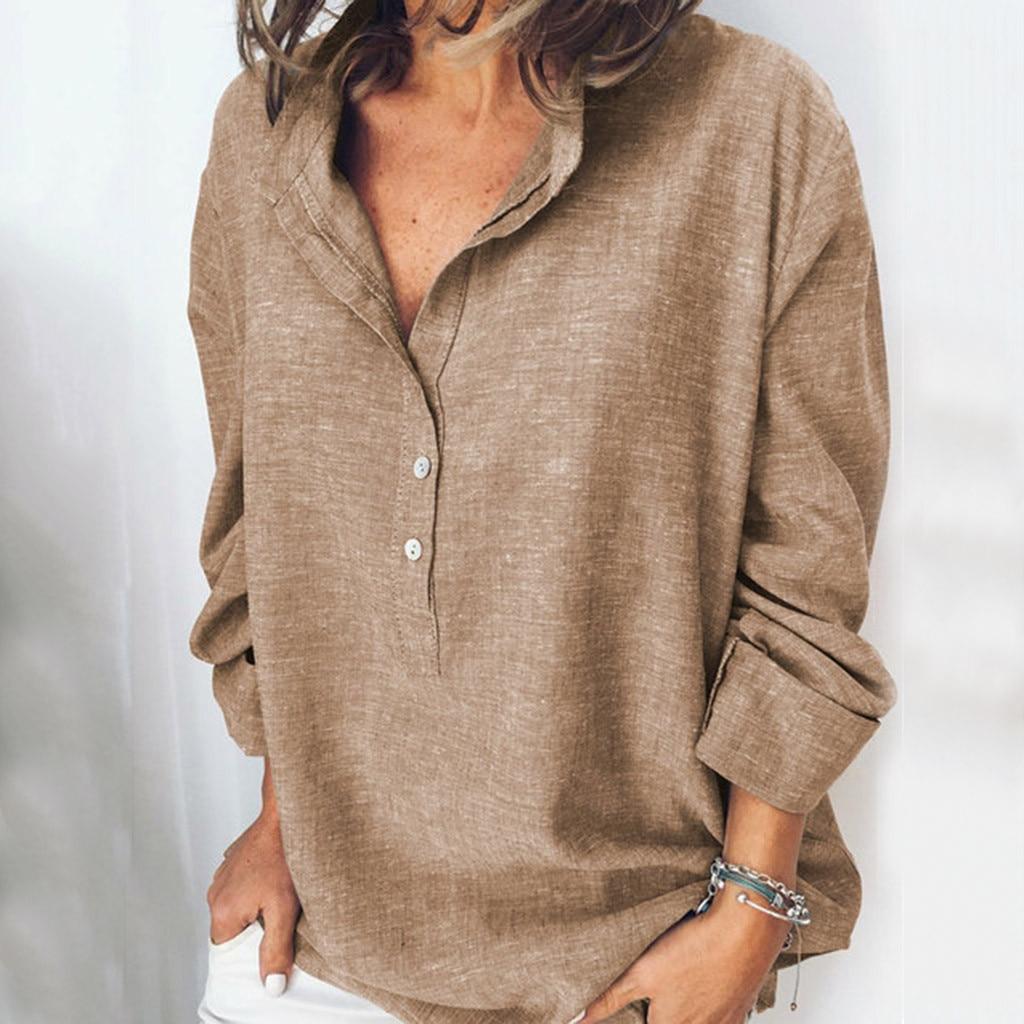 Camisas informales de manga larga para mujer, blusas y Tops holgados con botones y cuello en V estilo bohemio Vintage de ver o 2020