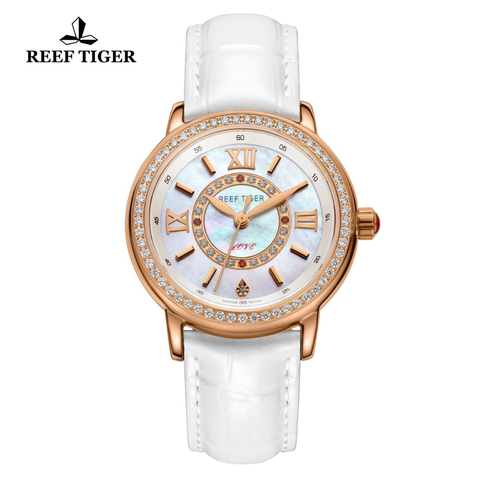 2021 Reef Tiger/RT Luxury Brand Casual Women Watches Red Leather Strap Waterproof Quartz Watch Clock Gift for Wife RGA1563 enlarge