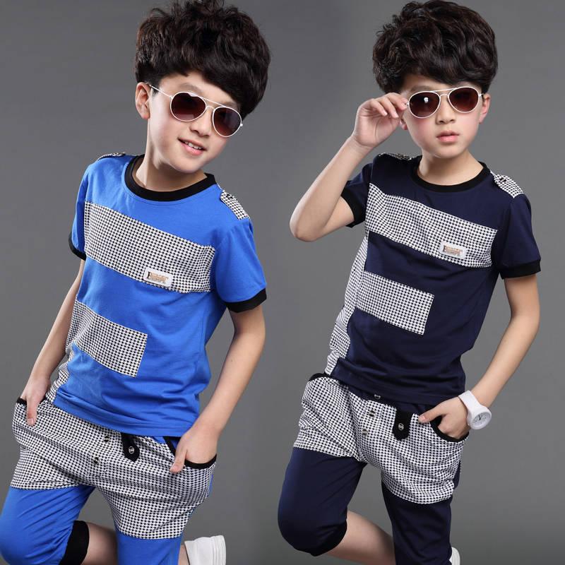 Boys summer suit children's clothing 2019 new big children summer children's casual short-sleeved cotton Korean two-piece
