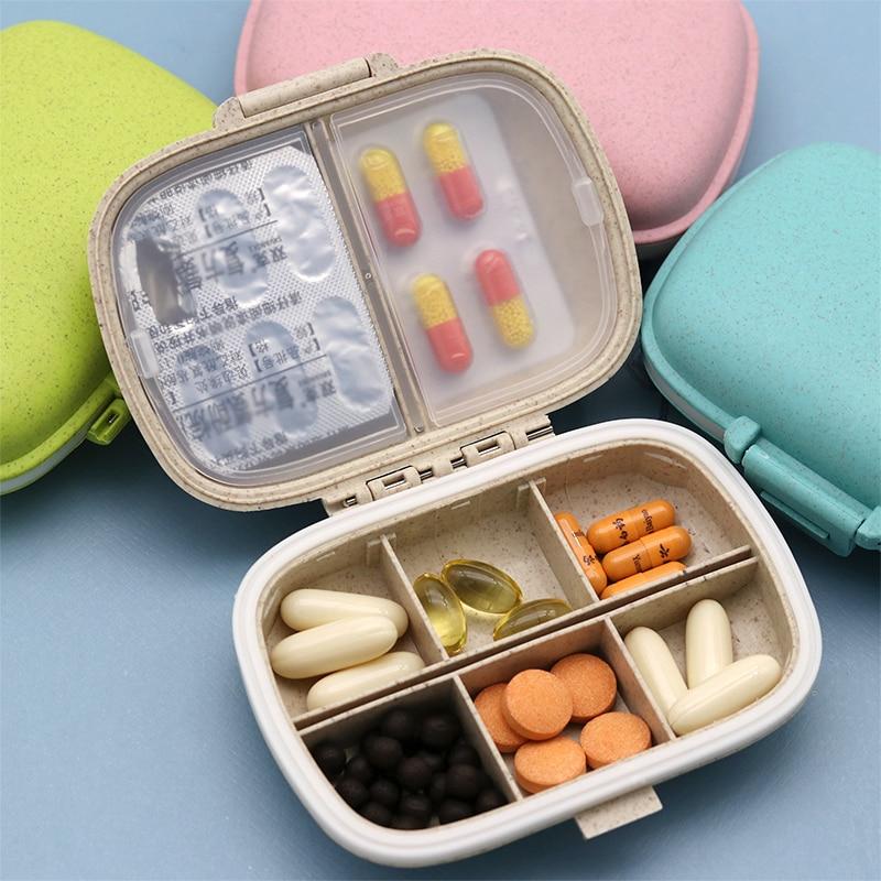 8 решеток Органайзер контейнер для таблеток дорожная коробка для таблеток с уплотнительным кольцом маленькая коробка для таблеток Пшеничная солома контейнер для медикаментов