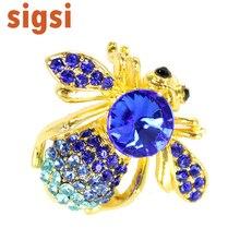 100 pcs um monte 1. 25 H x 1. 25 W polegadas Azul Royal cristal Strass Grande Jóia Do Grânulo Abdômen Fly Bee Bug Pin Moda broche