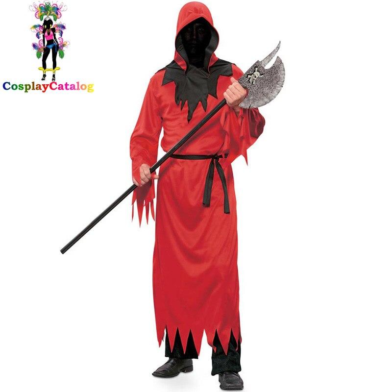Disfraz rojo de diablo para hombre, disfraz rojo de Halloween, ropa Zombie elegante, traje de fiesta, Disfraces para adultos del infierno