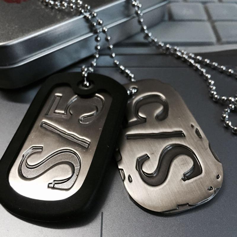 Collar Gangsta S/5 con colgante de cadena de acero de titanio de acero para Cosplay, collar con Etiqueta de perro de Anime de Nicolas Brown