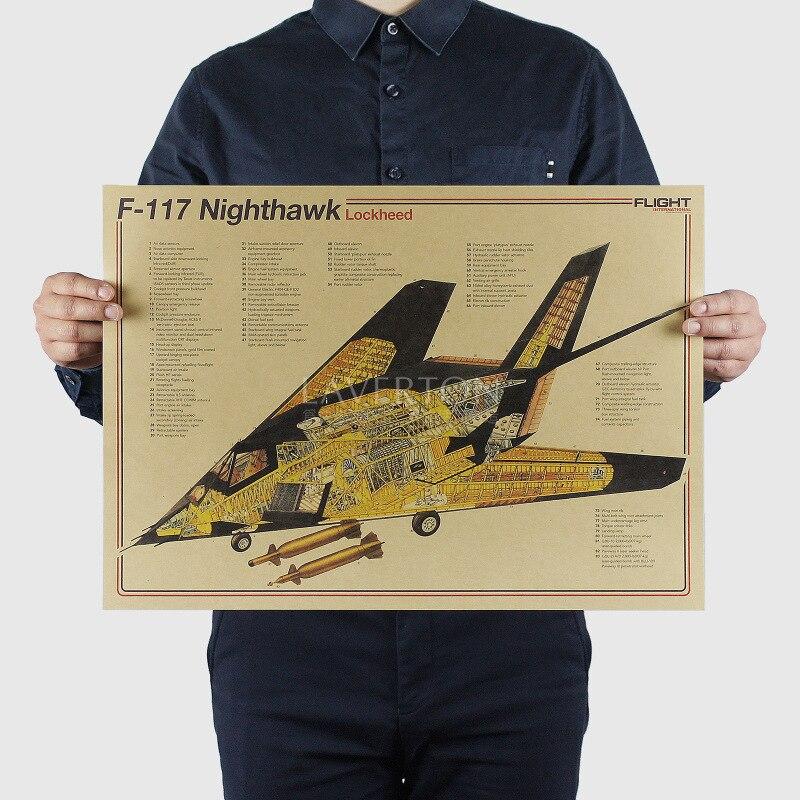 F117 Nighthawk/Famosa Arma projeto/Lutador/papel kraft/bar poster Adesivos de Parede/Poster Retro/pintura decorativa 51x35.5 cm