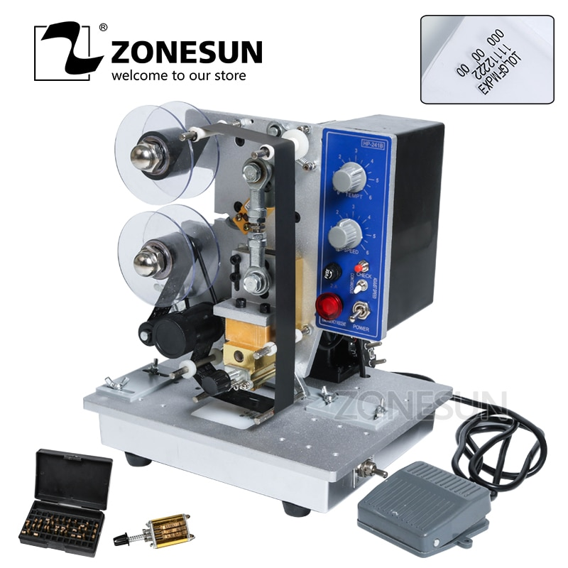 ZONESUN Semi automatic Hot Stamp Coding Machine Ribbon Date Character, Hot Code Printer HP-241 Ribbon Date Coding Machine