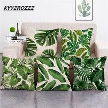 Африканские тропические растения напечатанные наволочки зеленые листья льняные наволочки стул/автомобиль/диван наволочка для подушки дек...