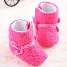 Winter Marke Rosa Neugeborene Babyschuhe Kleinkind Mädchen Warme Schnee stiefel Wolle Kind Krippe Kleinkind Fleece Häkelarbeitknit Sneakers Bebe Booties