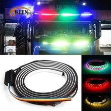 OKEEN 24V led courant RGB dynamique Streamer suite bande lumineuse pour camion remorque pick-up avec clignotant, frein