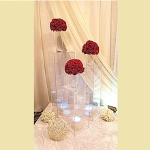 Soportes de flores para exteriores, centros de mesa de boda, soporte de acrílico para flores, escaparate de escaparate, decoración de flores para bodas