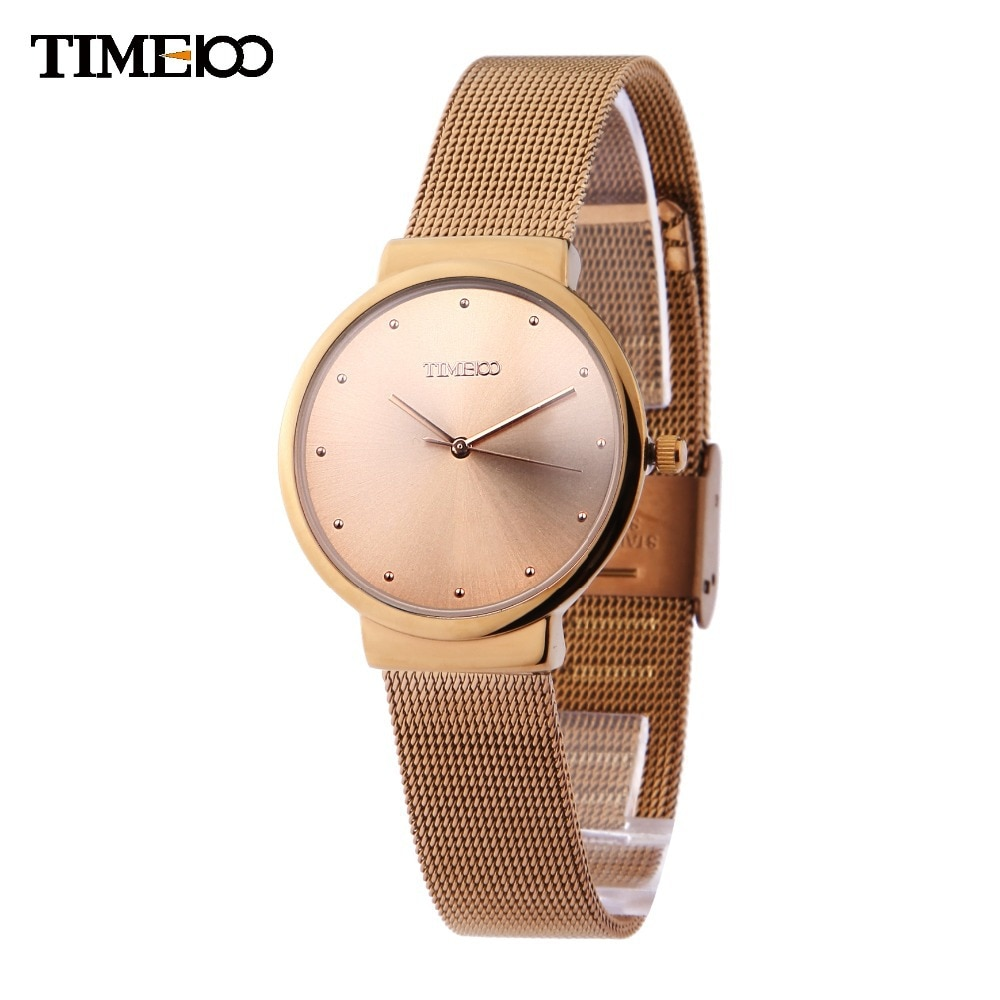Time100 Mujeres Caso ultrafino de Malla Correa Casual de Negocios Relojes de Cuarzo Analógico Reloj de Pulsera Relogio masculino Reloj Mujer
