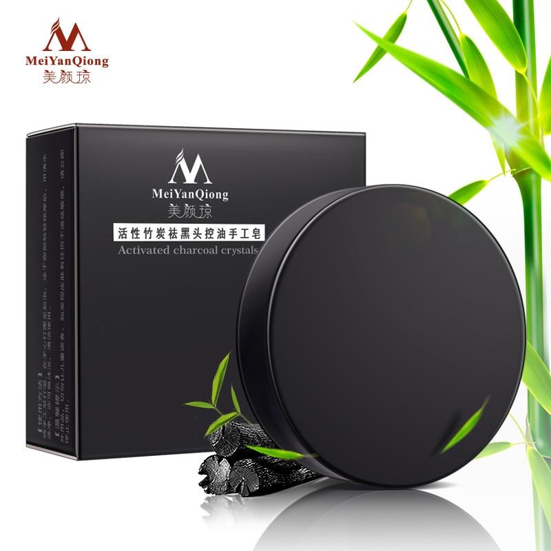 MeiYanQiong, cristales de carbón activado, jabón hecho a mano, blanqueador facial de piel, jabón crema para eliminar puntos negros, control de aceite