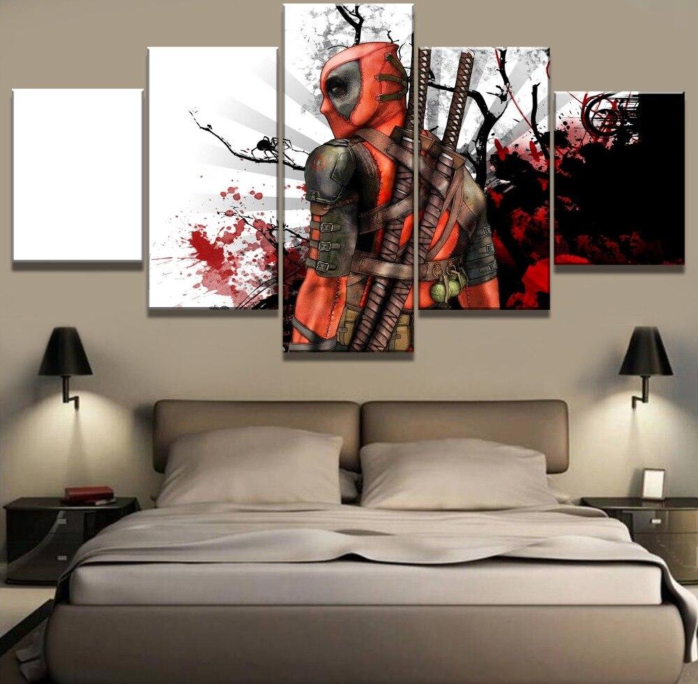 5 Stück HD Druck Große Deadpool Movie Poster Moderne Dekorative Gemälde auf Leinwand Wandkunst für Hauptdekorationen Wand-dekor