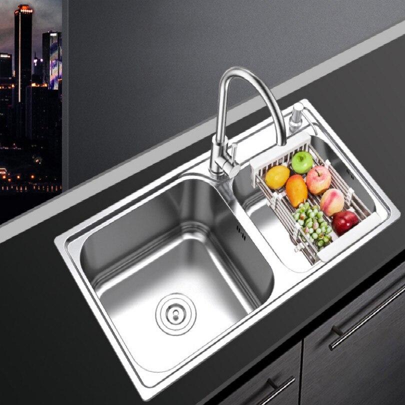 Hot + coole 304 edelstahl spüle spülbecken doppel wasser spüle bar mit armaturen rohr ventil schlauch Flüssigkeit seife gerät halter