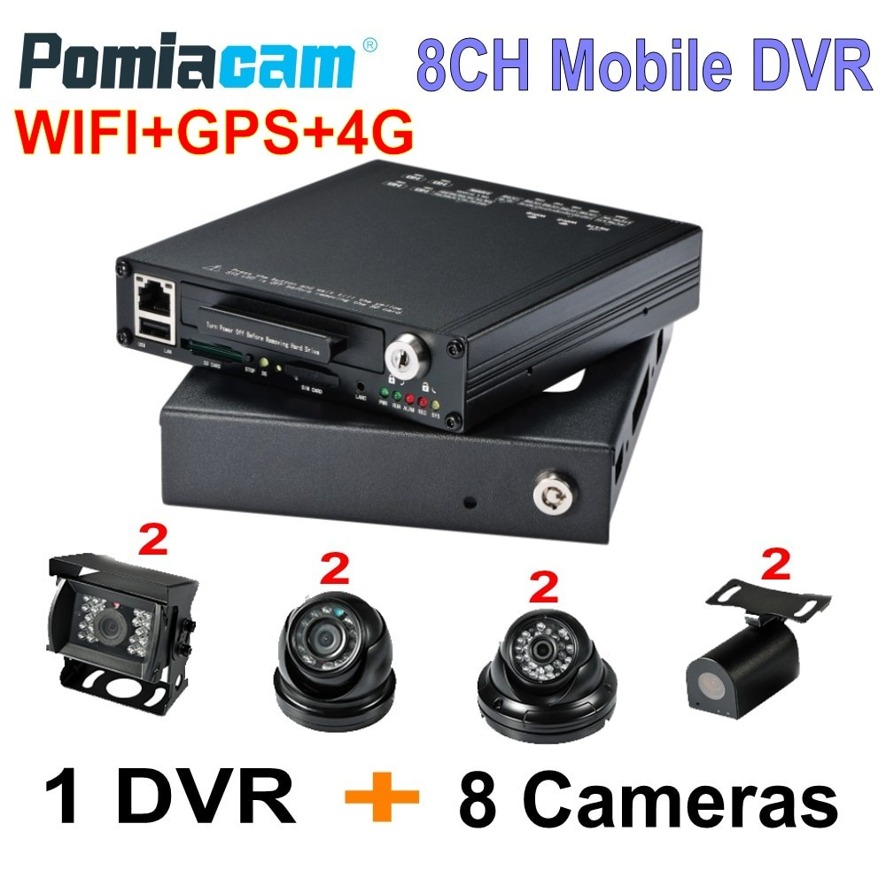 8CH HD MDVR HDVR8085 4G WIFI GPS HDD móvil DVR Full HD 1080P coche DVR móvil de sistema con 8 Uds 1080P cámaras