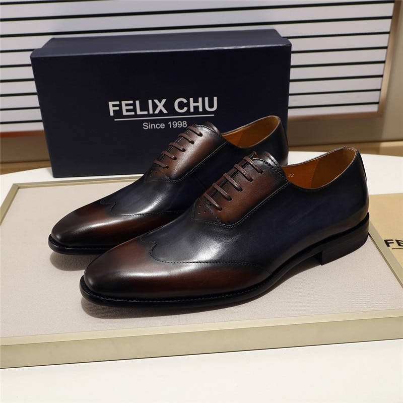 أحذية أوكسفورد من الجلد الطبيعي للرجال ، أحذية رسمية للعمل والمكتب ، أحذية مريحة بأربطة بمقدمة مدببة مقاس 39-46