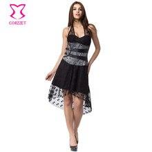 Robe victorienne en dentelle noire motif cerise Swallowtai avec Corset sous le buste Punk Rock Sexy robe Steampunk vêtements gothiques