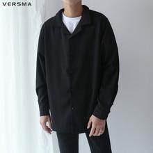 VERSMA 2018 Korean Harajuku Ulzzang BF Pajamas Chiffon Shirts Men Women Spring Long Sleeve Loose Couple Shirt Male Drop Shipping