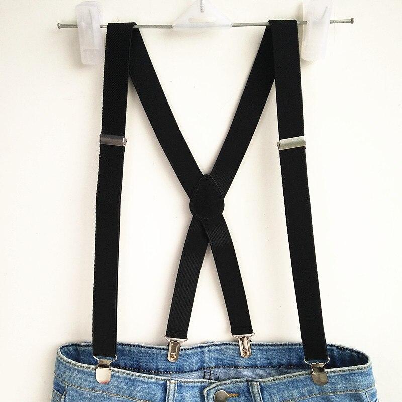 Cool Black Suspenders Men Women Strong Elastic Strap Adujutable Clips Children Suspender Braces Boys Gift  BD055