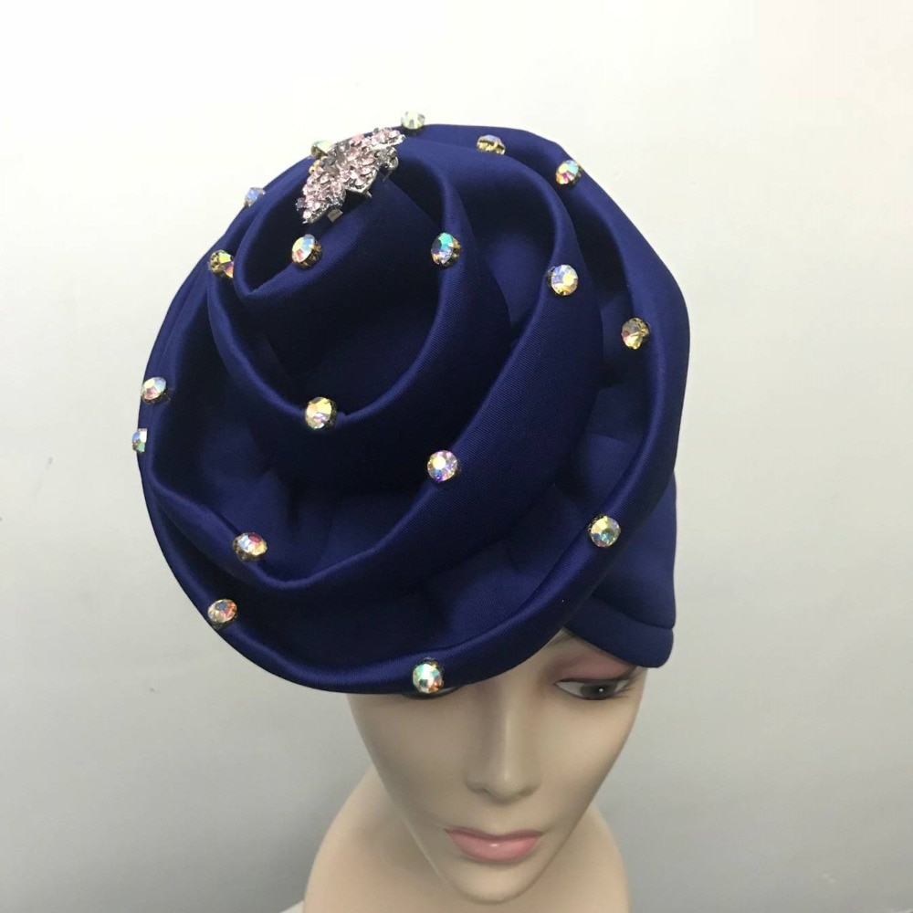 BlackWin nigeriano aso oke headtie auto gele turban cap broche partido con cuentas para mujer nuevo diseño Envío Gratis- l5
