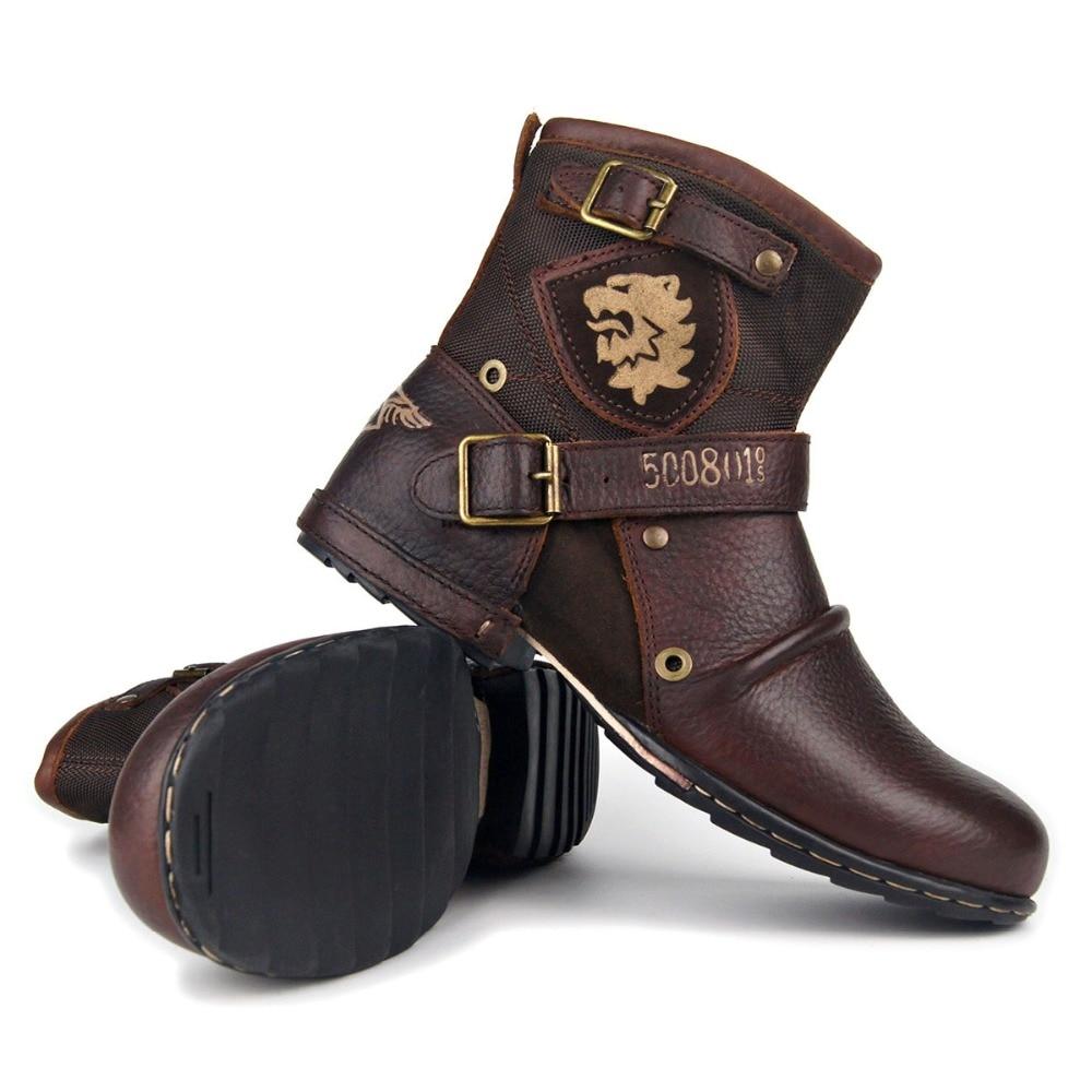 OTTO ZONE-أحذية طويلة الرقبة للرجال ، جلد طبيعي ، أحذية كاوبوي ، قابلة للتنفس ، شتوية ، عصرية ، جديدة