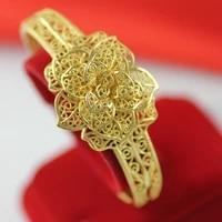 filigree flower shaped cuff bangle yellow gold filled womens bracelet wedding accessories