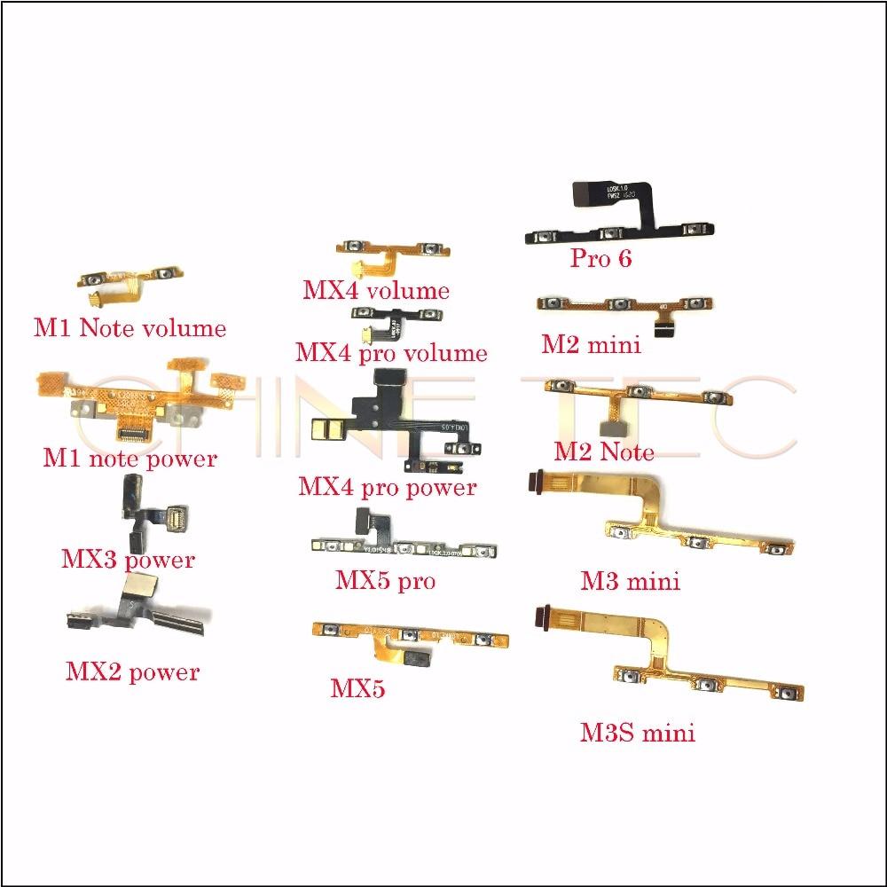 10 Uds volumen botón lateral flexible Cable para Meizu M1 M2 M3 Nota/MX2 MX3 MX4 MX4 pro MX5 MX5 pro M2 M3 M3S mini MX6 Pro5 Pro6
