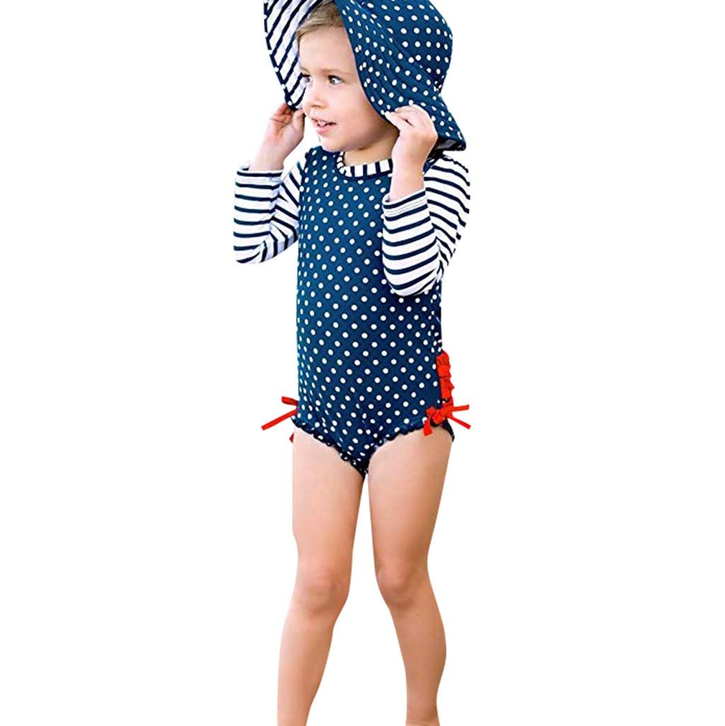 Children Swimwear fo Girls Kids Polyester One Piece Children Swimsuits Bathing Suit Bikini Beach Dot Striped Swimsuit K318