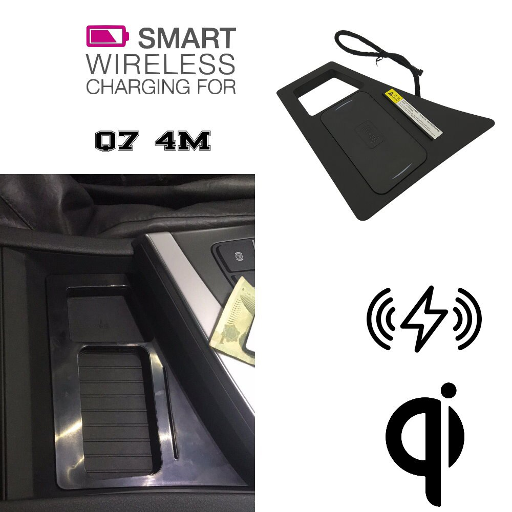 Para Audi QI cargador inalámbrico oculto caja de almacenamiento de soporte de teléfono para Q7 4M