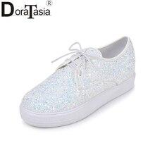 DoraTasia-chaussures à plateforme   Chaussures printemps-automne 2020 de grande taille 30-44 à paillettes, augmentant la taille, pour femmes
