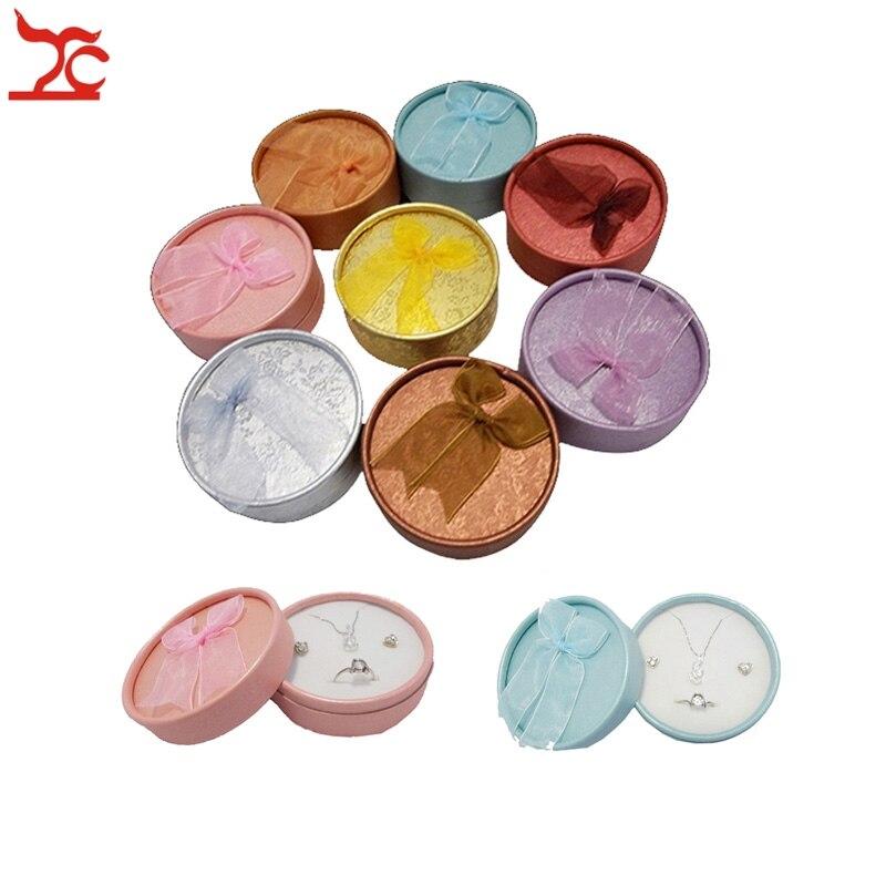 24Pcs Runde Bunte Band Papier Jewerly Paket Caste Ring Ohrring Schmuck Lagerung Organizer Geschenk Box Halskette Halter 8*3,5 cm