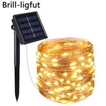 10M 20M LED à alimentation solaire chaîne lumières fil de cuivre 8 Modes lumière de fée extérieure pour noël jardin maison vacances décoration
