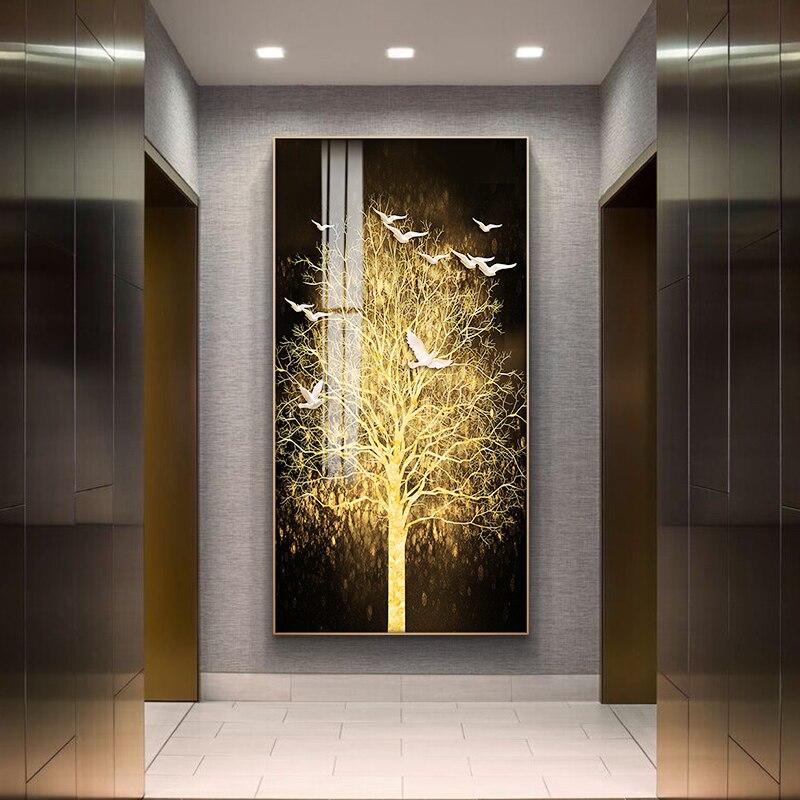 Pintura de lona nórdica abstracta para sala de estar, cuadros artísticos de pared dorados, Impresión de dormitorio, comedor, decoración del hogar, sin marco, Póster Artístico