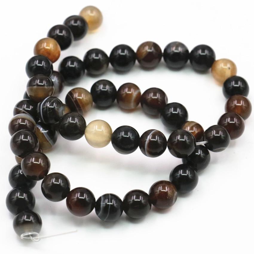 Runde Natürliche Stein Achate Onyx Lose Perlen für Schmuck Machen Braun Karneol DIY Armband Halskette 6 8 10 12mm 15 zoll A351