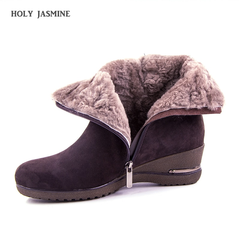 allbitefo brand genuine leather sheepskin women martin boots lattice texture design wedges heel platform boots ankle boots shoes Brand Large Size Full Genuine Leather Ankle Boots Women Boots 2019 New Fur One wool Snow Boots Winter Women Shoes Wedges Boots