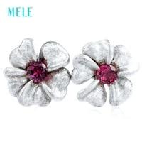 mele natural garnet silver earring 10mm for earring size lovely flower silver earring good choice for birthday gift